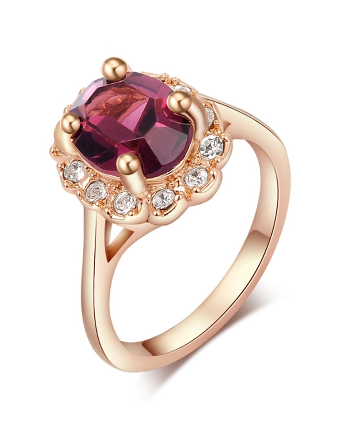 Threelayer gold plated pink crystal statement ring designer yucca