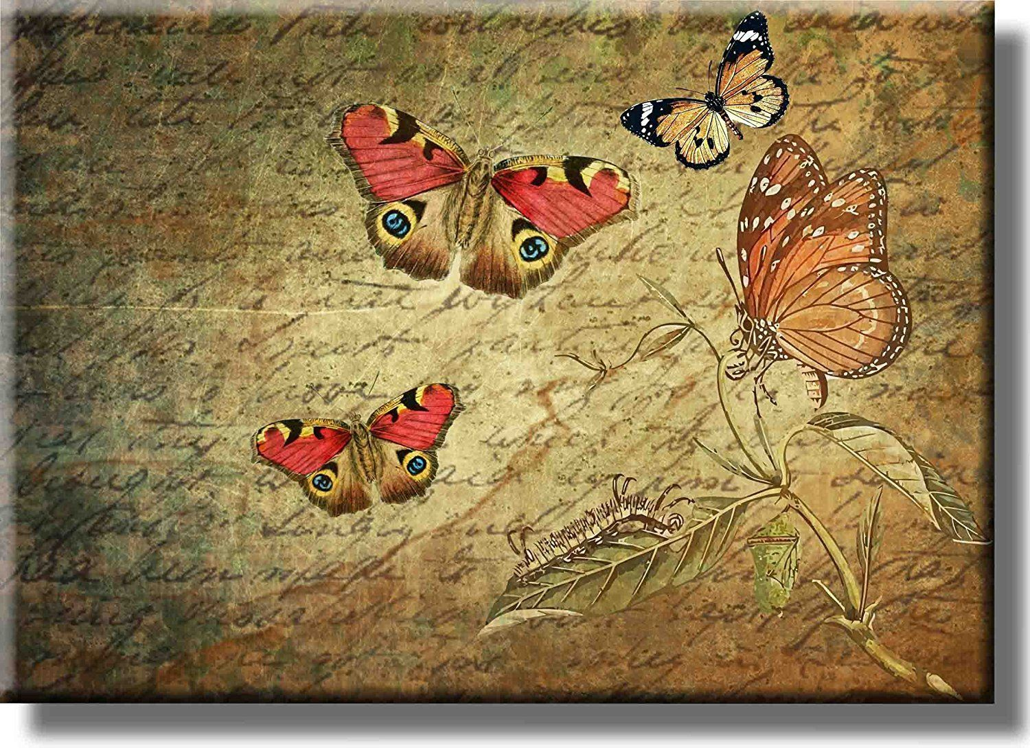 Butterflies Vintage Picture on Acrylic , Wall Art decor, Ready to ...