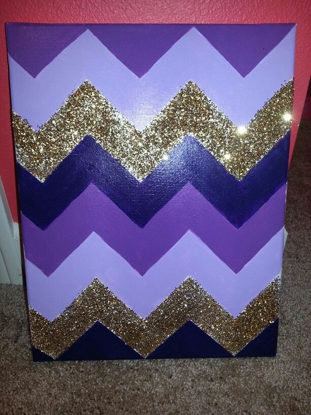 Purple themed chevron canvas with gold