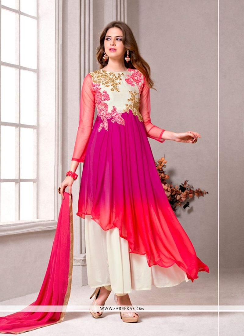 Resham work georgette multi colour designer suit flipping
