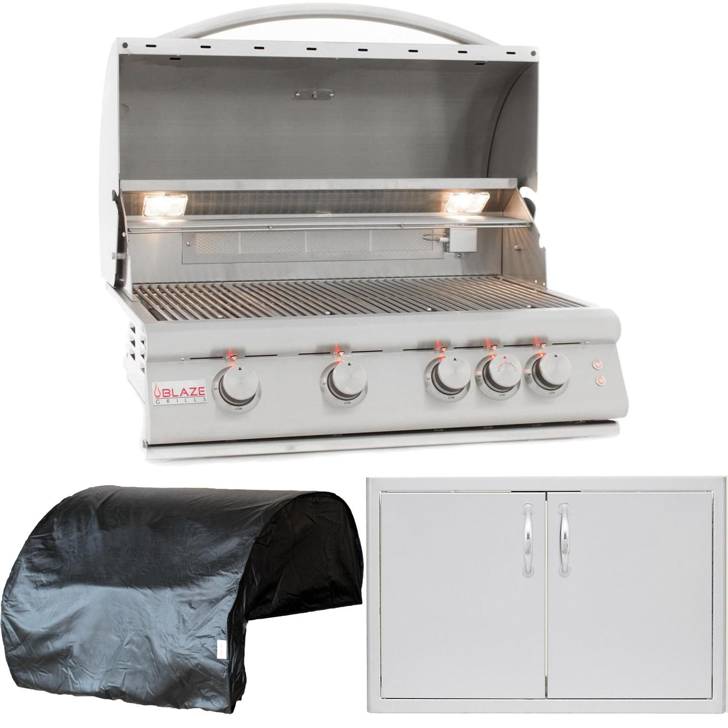 Blaze Outdoor Products Lte 3 Piece 32 Propane Gas Outdoor Kitchen Package Blz 4lte2 Lp 4bicv Blz Ad32 R Propane Gas Grill Stainless Steel Doors Stainless Steel Grill