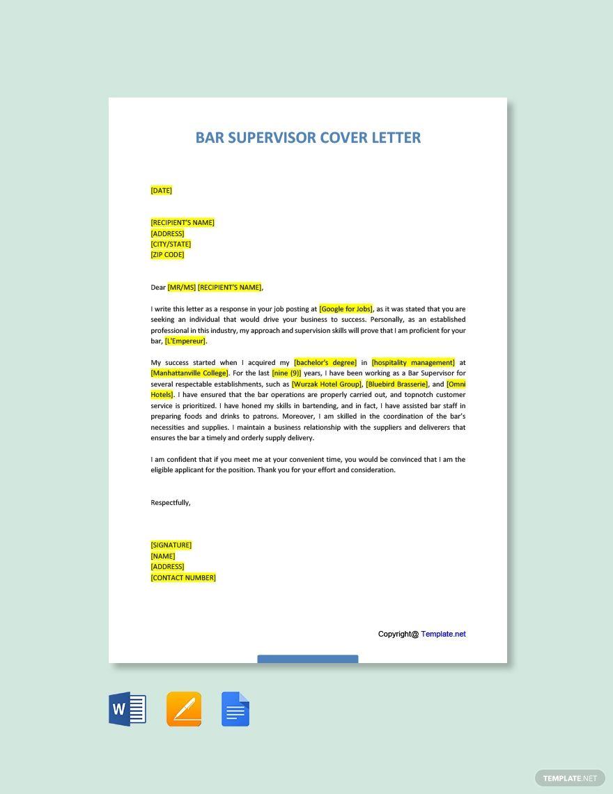 Bar Supervisor Cover Letter Template Free Pdf Google Docs Word Template Net Cover Letter Template Free Cover Letter Template Lettering