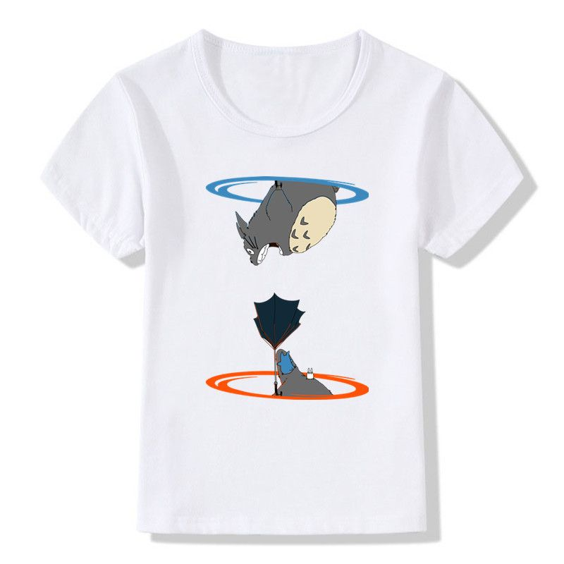 0802437227f Children Totoro Cat Dog Print Funny T-shirts Baby Kids Summer Short Sleeve  Tops Tees Boys Girls Portal Video Game Clothes