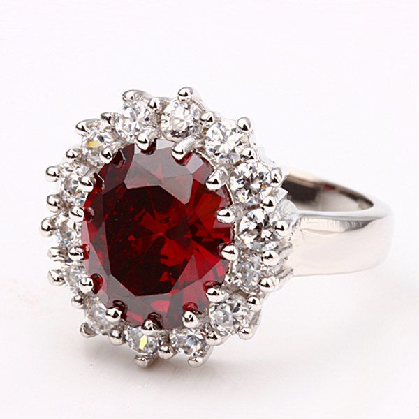 Charming Red Rhinestone Alloy Ring For Women