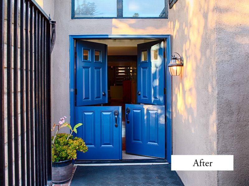 Plastpro Drs60 Double Dutch Doors Clear Glass Squares Top Panels Factory Painted Blue Copper Creek Colnial Installed In Huntington Beach Ca Home