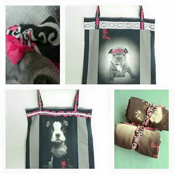 Einkaufstasche faltbar shoppingbag foldable shoppingtote puppy bostonterrier