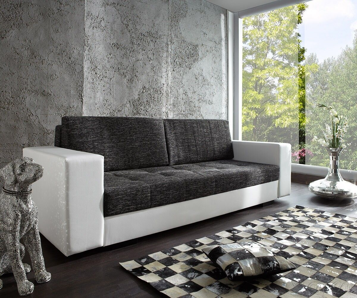 schlafsofa giorgio 250x100 weiss schwarz mit bettkasten delife deluxe lifestyle schlafsofa. Black Bedroom Furniture Sets. Home Design Ideas