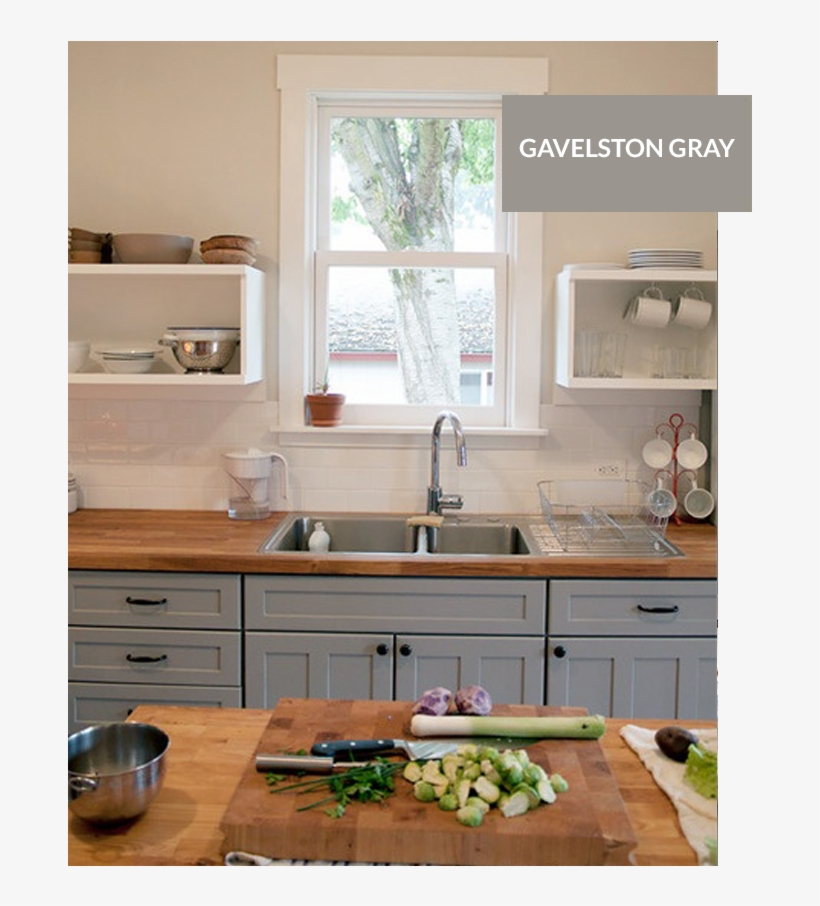 Benjamin Moore Gavelston Gray Wood Counter Tops Kitchen Gray Cabinet Butcher Block Counter Transparent Png Kitchen Remodel Kitchen Colour Schemes Kitchen
