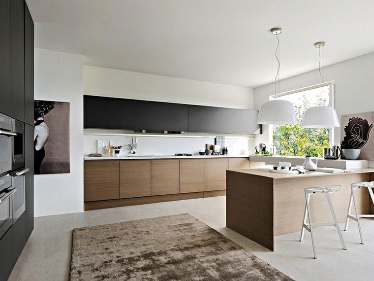 cuisine noire et bois moderne et lgante design google et cuisine - Cuisine Noir Et Blanc Et Bois