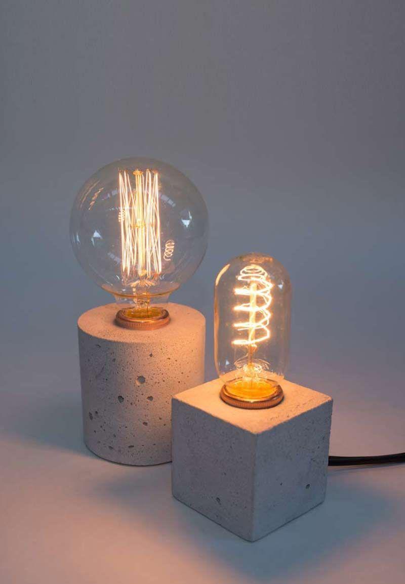 simple lamp a concrete desk light concrete lamp pinterest cemento tienda de dise o y. Black Bedroom Furniture Sets. Home Design Ideas