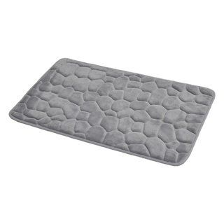 Evideco 3d Cobble Stone Shaped Memory Foam Bath Mat Microfiber