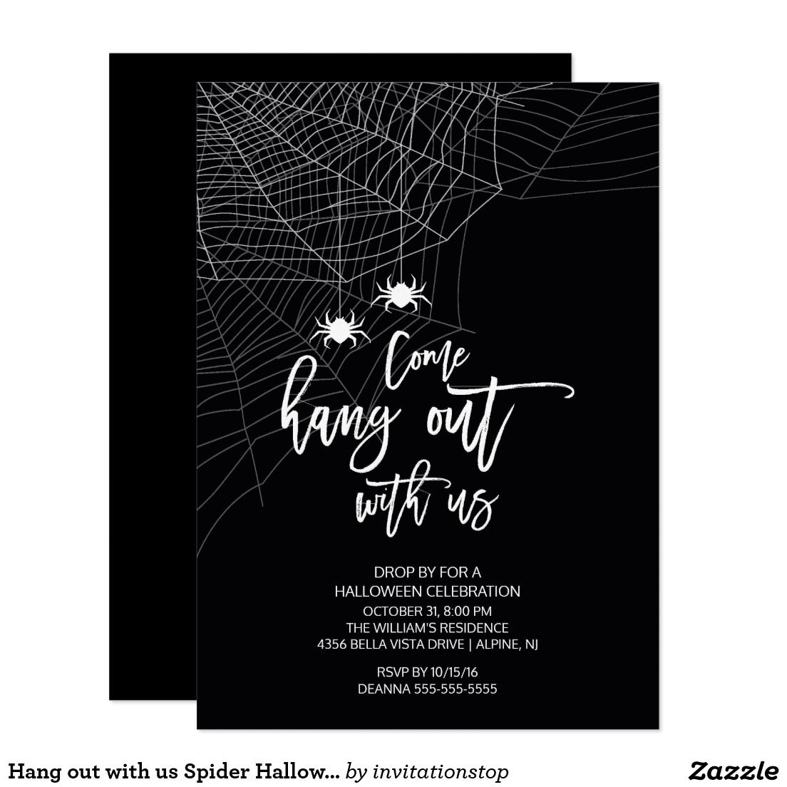 Hang out with us Spider Halloween Party Card