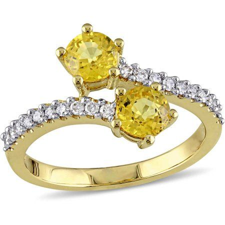 Tangelo 1 1 10 Carat T G W Yellow Sapphire And 1 5 Carat T W Diamond 10kt Yellow Gold Two Stone Ring Women S Size 8 Metal Type Stone Rings Sapphire Gemstone Diamond