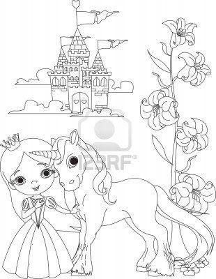 The Beautiful Princess And Her Cute Unicorn Coloring Page Unicorn Coloring Pages Fairy Coloring Pages Princess Coloring Pages