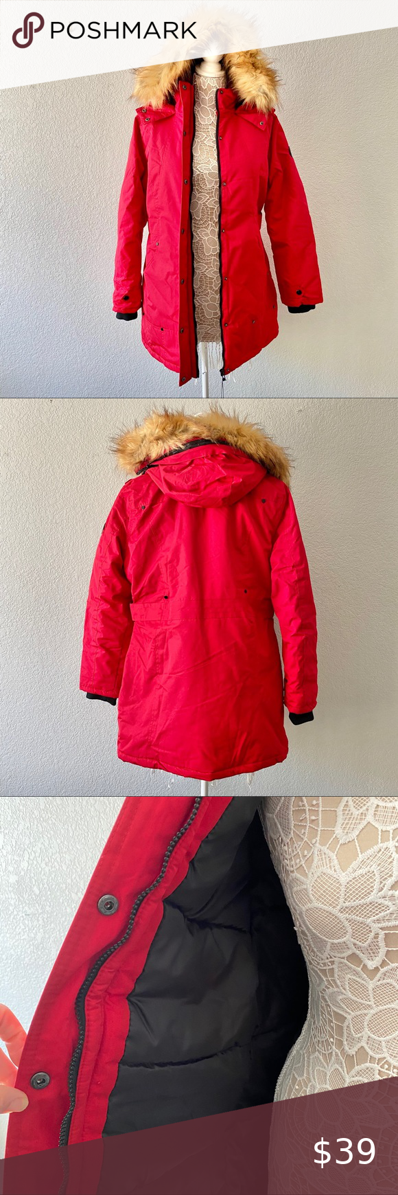 Yoki Outerwear Parka Lined Hood Faux Fur Outerwear Clothes Design Red Leather Jacket [ 1740 x 580 Pixel ]