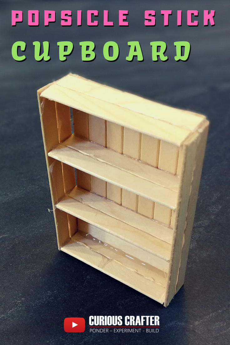 How to create a popsicle stick cupboard, perfect for a dollhouse or scaled model. This is one of many furniture pieces by Curious Crafter. Check out the video on YouTube. Hope you like it! #barbiefurniture