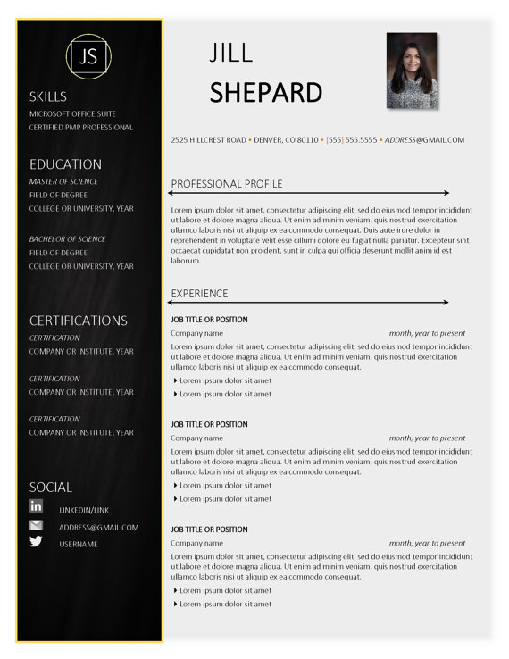 The Jill Resume Template Professional Resume By Grasslanddesigns