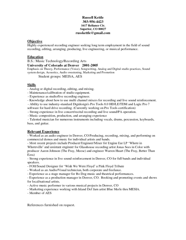 Audio Engineer Resume Sound Engineer Resume Sample Awesome Audio Engineer Resume
