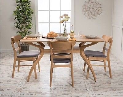 5 Piece Dining Set Wood Table 4 Chair Kitchen Mid Century Modern Retro Furniture Dining Furniture Sets Modern Retro Furniture Furniture