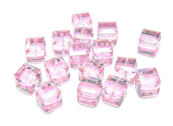 Vintage Swarovski Crystal Cube Beads  Rose 8mm by amazingbeads, €10.00
