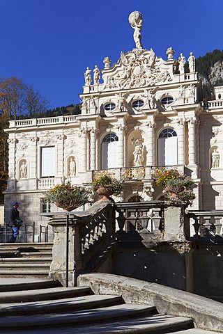 Castle Linderhof, royal villa, Valley Graswangtal, Ettal, Upper Bavaria, Bavaria, Germany / Schloss Linderhof