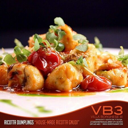 """Join Us For Dinner At VB3 Pictured Is Chef Colletti's Ricotta Dumplings """"House-Made Ricotta Gnudi""""  475 Washington Boulevard Jersey City, NJ 07310 (Located Between The Westin & Doubletree Hotels)  www.vb3restaurant.com www.facebook.com/vb3restaurant www.twitter.com/vb3restaurant www.twitter.com/chefcolletti"""