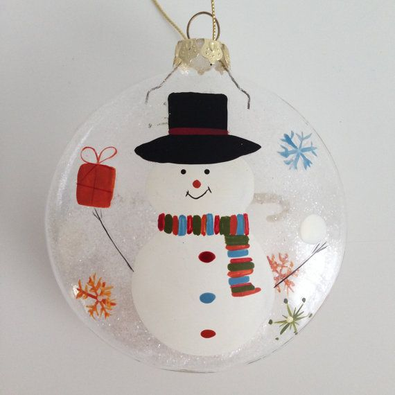 NEW Christmas Tree Ball Snowman Glitter Glass Ornament