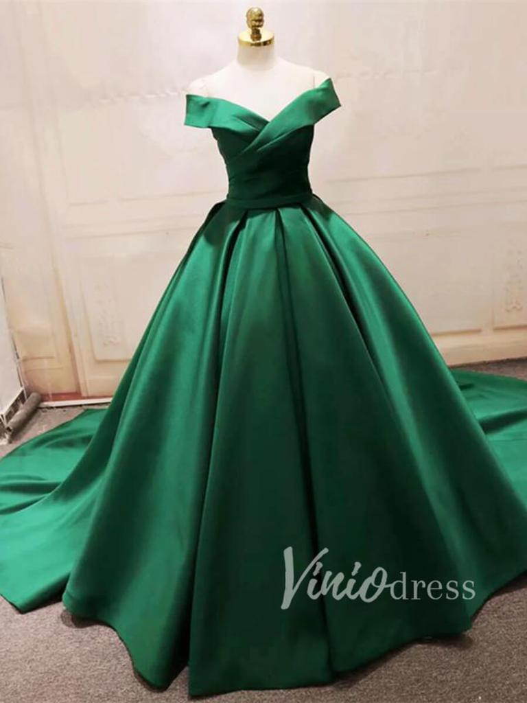 Cheap Simple Green Satin Prom Dresses Long Fd1494 In 2021 Beautiful Party Dresses Prom Dresses Ball Gown Green Ball Gown [ 1024 x 768 Pixel ]