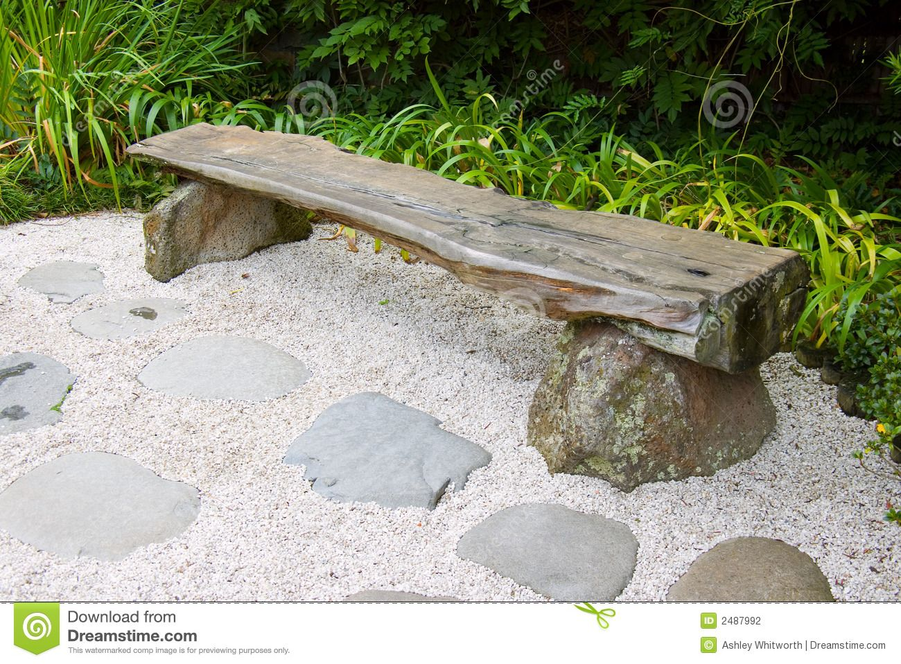 Garden Furniture Kilquade bench in japanese garden stock photography - image: 2487992