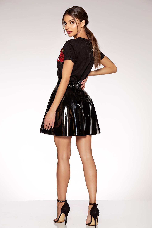 e00be3b76f9 Black Vinyl Skater Skirt #nightoutwomensfashion | Women's Fashion in ...