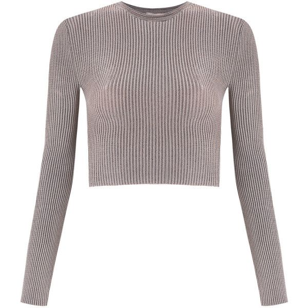 Cecilia Prado Knitted Cropped Top ($148) ❤ liked on Polyvore featuring tops, cropped tops, white tops, long sleeve crop top, form fitting tops and rose top