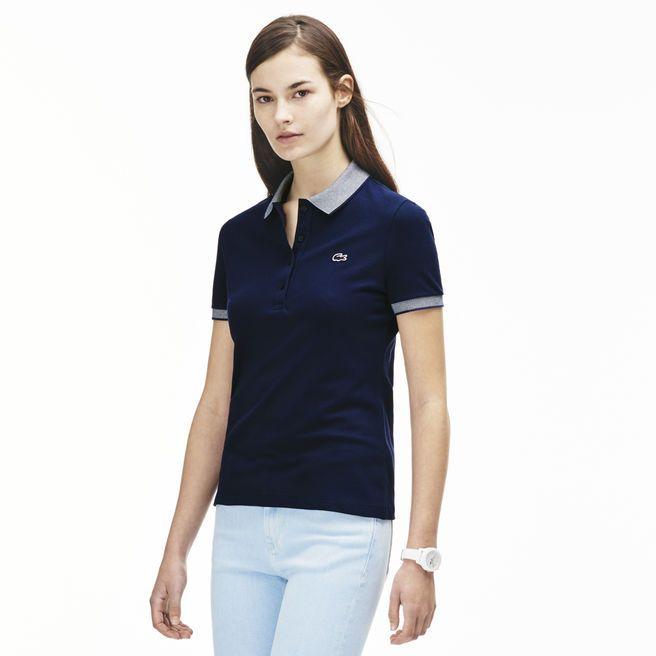 08f58a712d6 Polo uni en coton stretch Lacoste - Polo Femme Lacoste - Ventes-pas ...