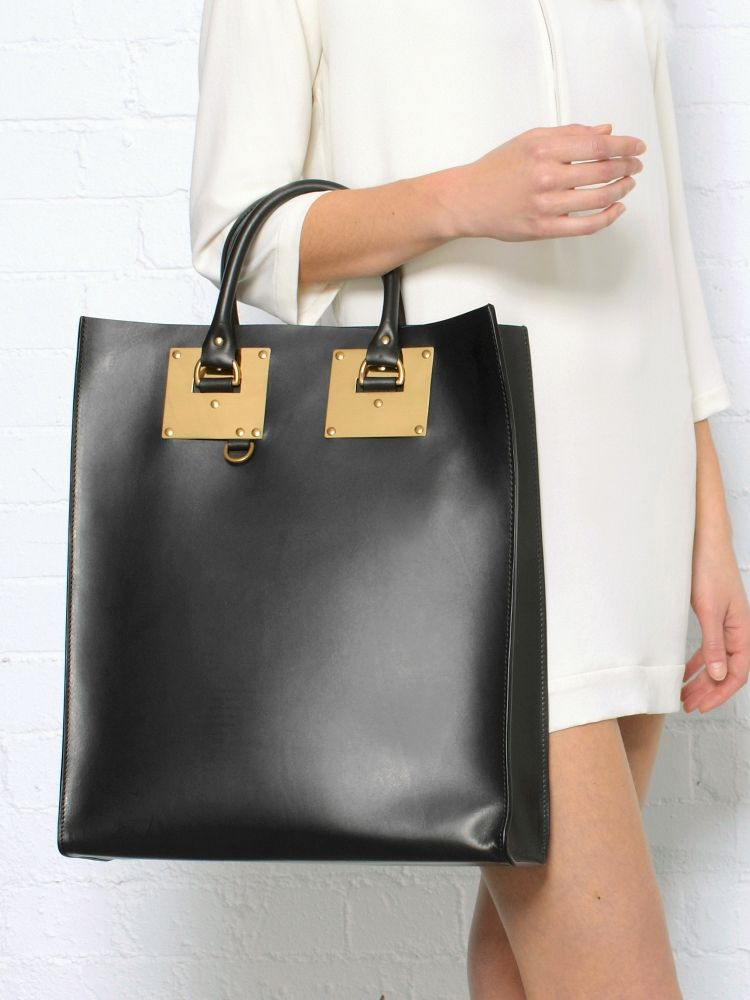 Sophie Hulme Black Double Plate Tote 873 Okay That S Sort Of It Bag Price Status Hardware Structured Totes Leather
