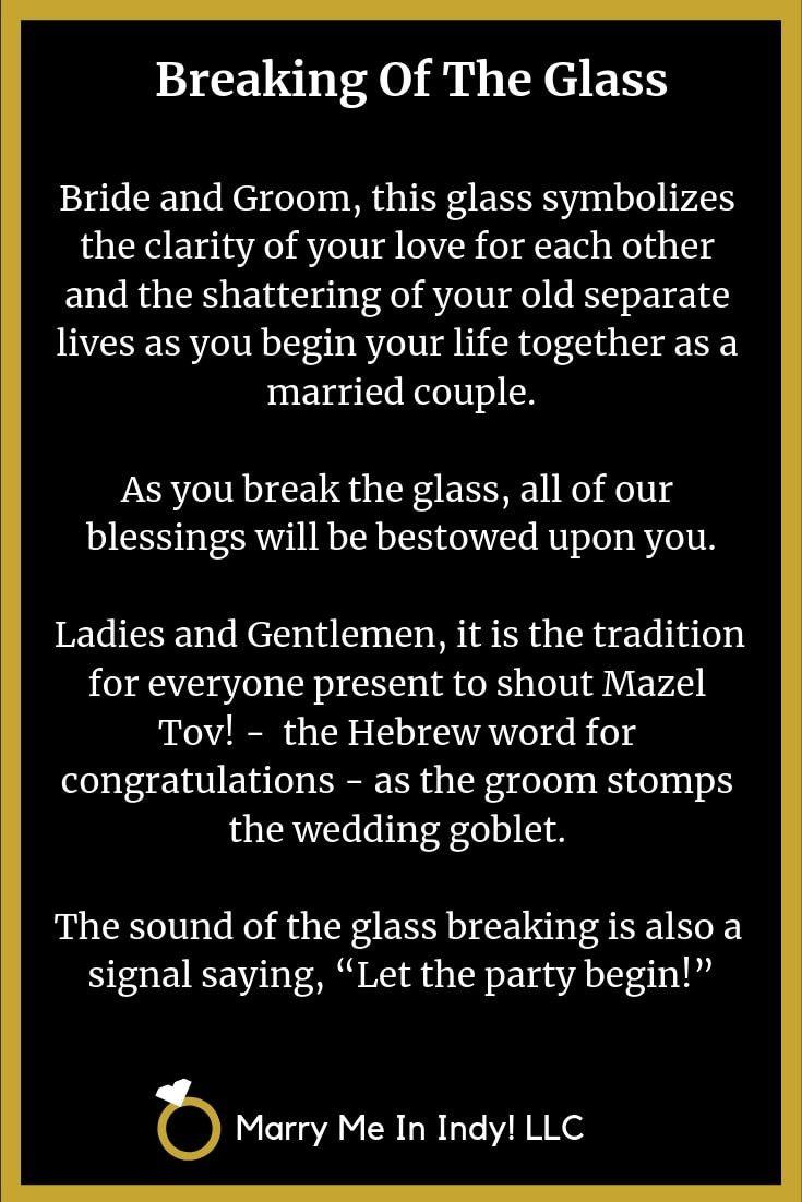 Jewish breaking of the glass wedding ceremony script. in