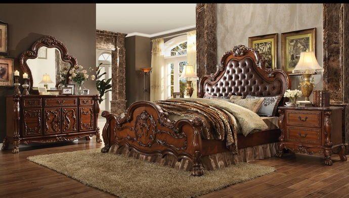 acme 23140q 5 pc dresden cherry oak finish wood queen bedroom set
