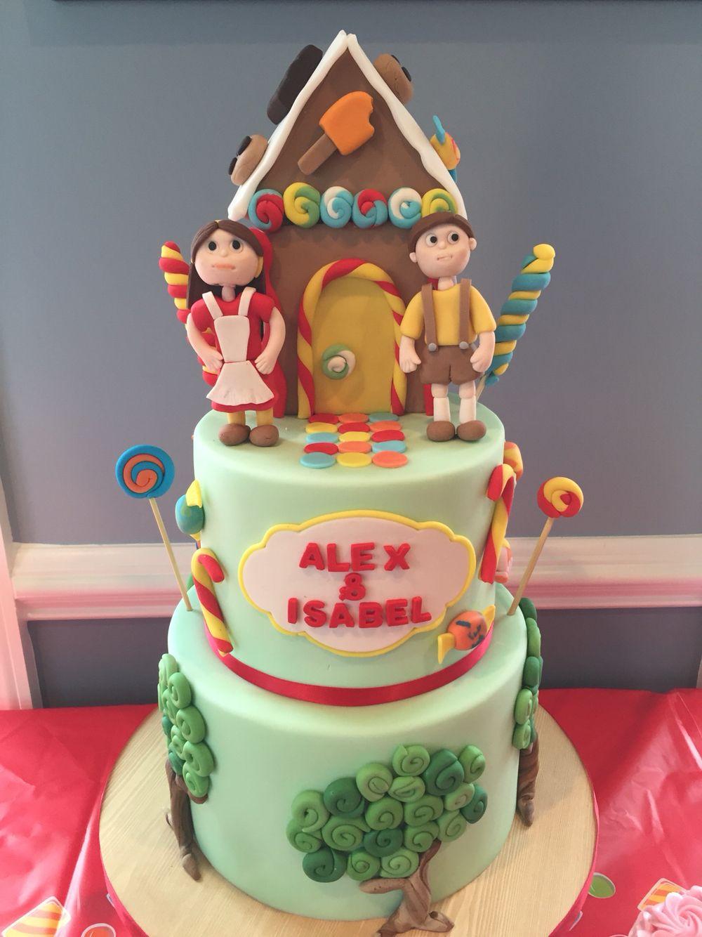Brilliant Hansel Gretel Twin Birthday Cake Twin Birthday Cakes House Personalised Birthday Cards Veneteletsinfo