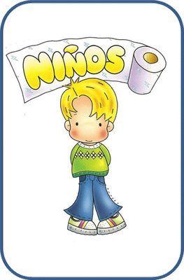Dibujo Bano Ninos Y Ninas Para Escuelas Infantiles Carteles De Bano Banos Para Ninas Gafetes Para Ninos