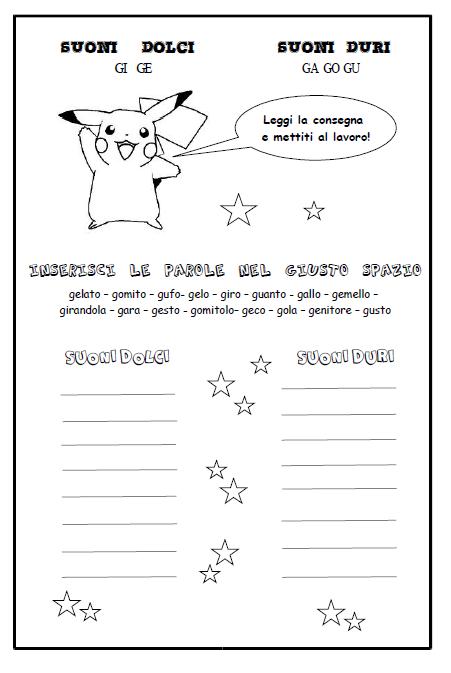 Schede didattiche per la scuola primaria giochi disegni for Parole con la gi