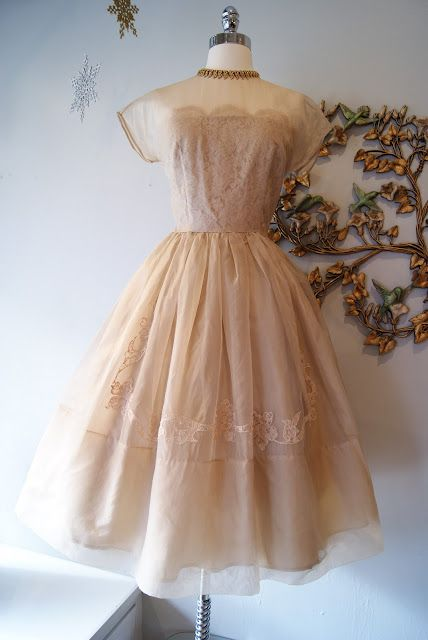 1950's iced latte silk organza with lace appliques by R&K