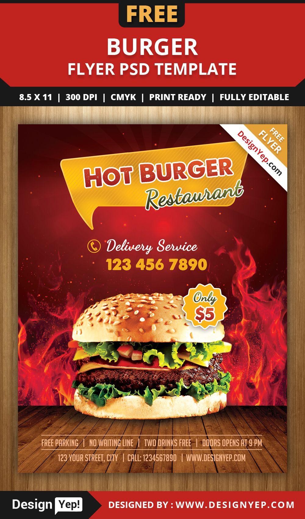 Free Burger Shop Flyer PSD Template | Free Flyers | Pinterest