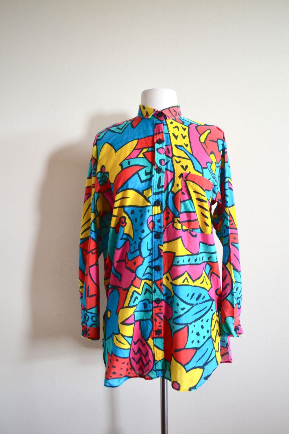 62dc78a119a Funky 80s Abstract Print Button Up Shirt