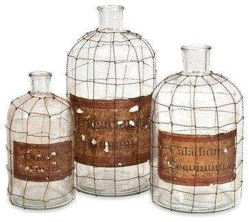 Vintage Dimora Wire Caged Medicine Bottles, Set of 3 - transitional ...