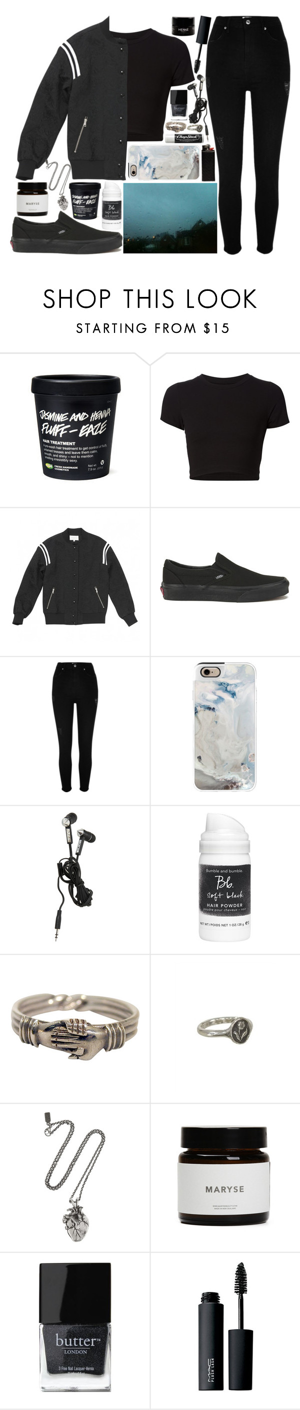 """packed in"" by velvet-ears ❤ liked on Polyvore featuring Getting Back To Square One, Sandro, Vans, River Island, Casetify, Chapstick, Bumble and bumble, Pyrrha, Pamela Love and Butter London"