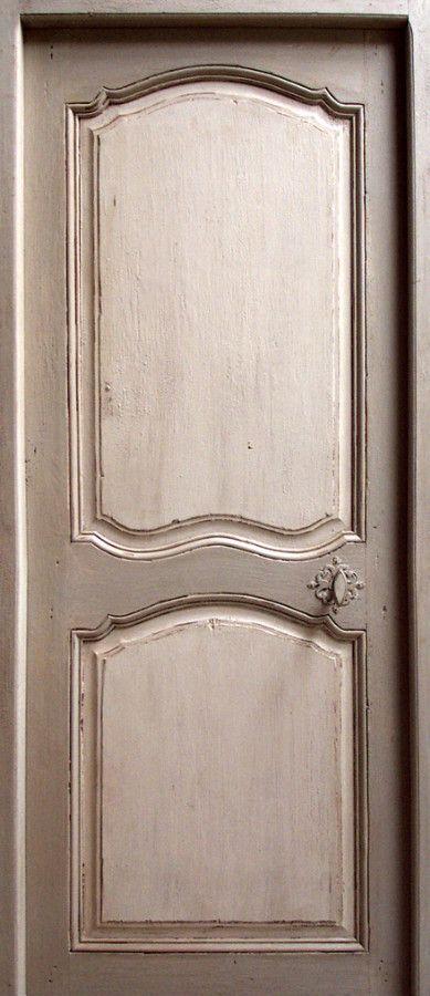Porte poque regence peinture 2 tons patin e ou tilleul portes int rieures portes antiques - Peinture boiserie porte ...