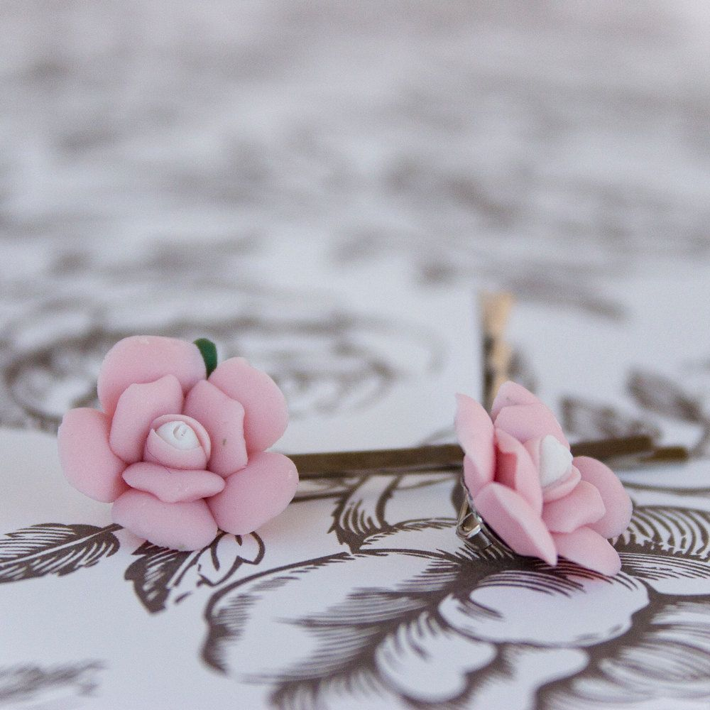 Pink Porcelain Flower Bobby Pins by anjcouture on Etsy, $10.00