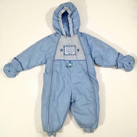 Vintage Baby Snow Suit Snow Baby Insulated Warm One Piece Baby Boy Winter Bunting Blue Front Zip Snow Suit Tagge Snow Suit One Piece Baby In Snow