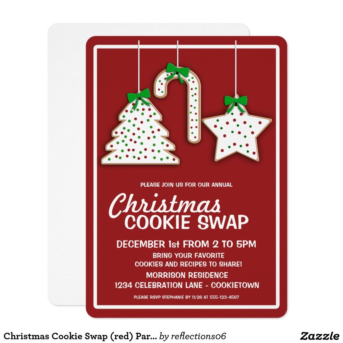 Christmas Cookie Swap (red) Party Invitation | Christmas Party ...