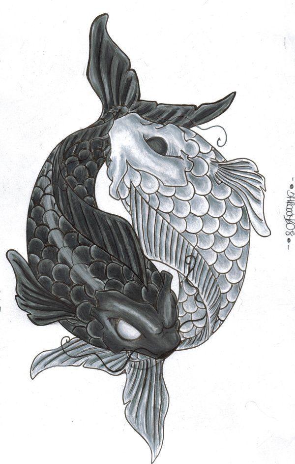 drawings of koi fish | yin yang by ~shrooomz08 on ...