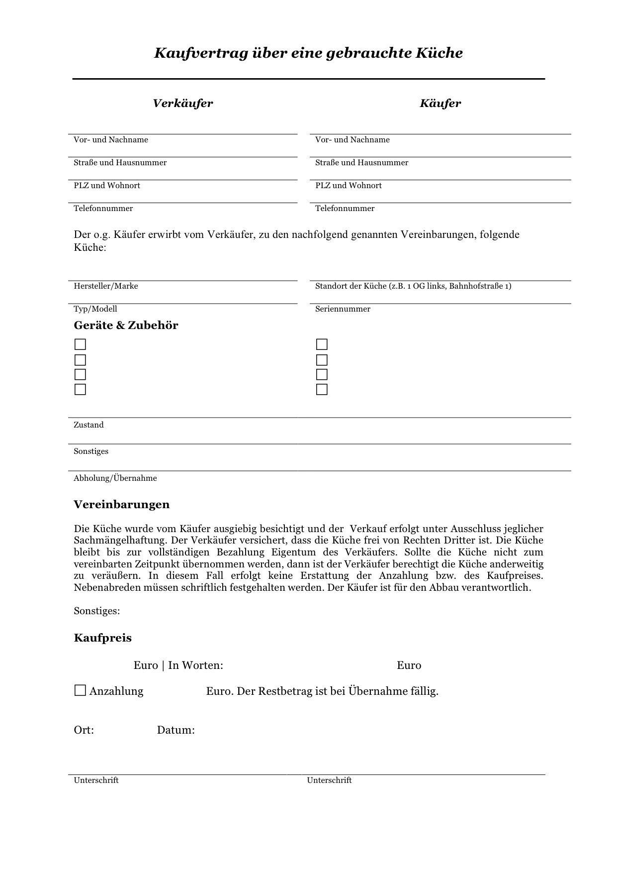 Kaufvertrag Kuche Rechtssicheres Muster Zum Download 4