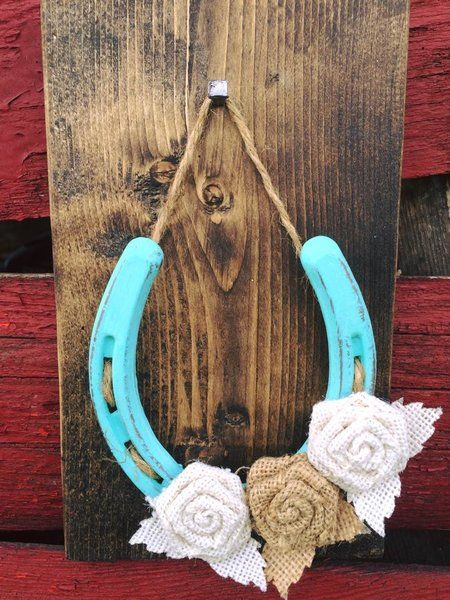 Burlap Flower Lucky Horseshoe Turquoise Horseshoe Decor Horseshoe Crafts Projects Horseshoe Crafts